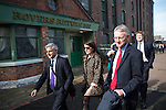 © Joel Goodman - 07973 332324 . 13/04/2015 . Manchester , UK . Members of the Shadow Cabinet arrive and walk past the set of Coronation Street and the Rovers Return Inn ahead of Labour Party leader Ed Miliband launching the Labour Party manifesto ahead of the General Election at the Old Granada Studios in Manchester , UK . Photo credit : Joel Goodman