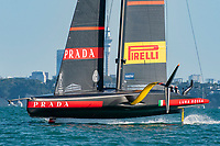 13th March 2021; Waitemata Harbour, Auckland, New Zealand;  Luna Rossa Prada Pirelli Team in race six on day three of the America's Cup presented by Prada.