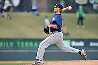Pitcher Thomas McIlraith (20) of the Columbia Fireflies delivers a pitch in a game against the Greenville Drive on Thursday, April 21, 2016, at Fluor Field at the West End in Greenville, South Carolina. Columbia won, 13-9. (Tom Priddy/Four Seam Images)
