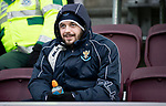 Hearts v St Johnstone…26.01.19…   Tynecastle    SPFL<br />Drey Wright in the stands recovering from injury<br />Picture by Graeme Hart. <br />Copyright Perthshire Picture Agency<br />Tel: 01738 623350  Mobile: 07990 594431