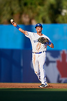 Dunedin Blue Jays third baseman Nash Knight (35) throws to first base during a game against the Fort Myers Miracle on April 17, 2018 at Dunedin Stadium in Dunedin, Florida.  Dunedin defeated Fort Myers 5-2.  (Mike Janes/Four Seam Images)