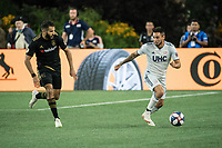 FOXBOROUGH, MA - AUGUST 4: Diego Fagundez #14 of New England Revolution in the backfield during a game between Los Angeles FC and New England Revolution at Gillette Stadium on August 3, 2019 in Foxborough, Massachusetts.