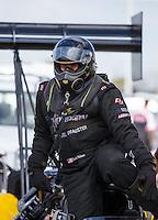Oct 15, 2016; Ennis, TX, USA; NHRA top fuel driver Scott Palmer during qualifying for the Fall Nationals at Texas Motorplex. Mandatory Credit: Mark J. Rebilas-USA TODAY Sports