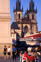 outdoor café, Prague, Czech Republic, Praha, Central Bohemia, Outdoor café and Tyn Church in Old Town Square in the city of Prague.