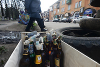 Molotov Cocktails stored in the barricades in the city center of Slovyansk