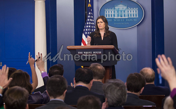 White House Spokesperson Sarah Huckabee Sanders holds a news briefing at The White House in Washington, DC, March 12, 2018. Photo Credit: Chris Kleponis/CNP/AdMedia