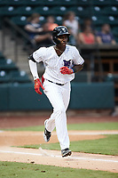 Luis Mieses (13) of the Winston-Salem Dash hustles down the first base line against the Greensboro Grasshoppers at Truist Stadium on August 11, 2021 in Winston-Salem, North Carolina. (Brian Westerholt/Four Seam Images)