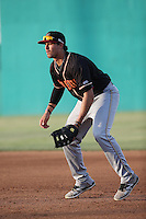 Josh Fuentes (15) of the Modesto Nuts in the field at first base during a game against the High Desert Mavericks at Heritage Field on June 3, 2016 in Adelanto, California. Modesto defeated High Desert, 2-1. (Larry Goren/Four Seam Images)