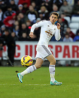 Pictured: Tom Carroll of Swansea Saturday 10 January 2015<br /> Re: Barclays Premier League, Swansea City FC v West Ham United at the Liberty Stadium, south Wales, UK