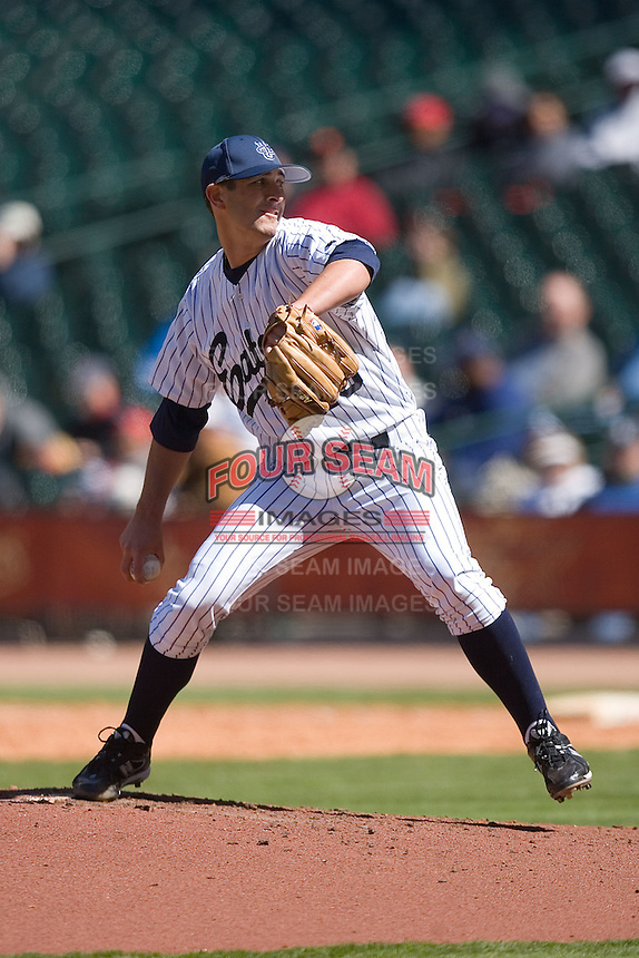 Starting pitcher Crosby Slaught #13 of the UC-Irvine Anteaters in action versus the UCLA Bruins in the 2009 Houston College Classic at Minute Maid Park March 1, 2009 in Houston, TX.  The Anteaters defeated the Bruins 7-4. (Photo by Brian Westerholt / Four Seam Images)