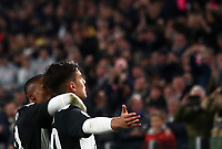 Calcio, Serie A: Juventus - Milan, Turin, Allianz Stadium, November 10, 2019.<br /> Juventus' Paulo Dybala (r) celebrates after scoring with his teammate Doulas Costa (l) during the Italian Serie A football match between Juventus and Milan at the Allianz stadium in Turin, November 10, 2019.<br /> UPDATE IMAGES PRESS/Isabella Bonotto
