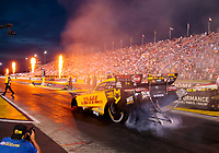 Aug 30, 2019; Clermont, IN, USA; Fire from pyrotechnics go off as NHRA funny car driver J.R. Todd does a burnout during qualifying for the US Nationals at Lucas Oil Raceway. Mandatory Credit: Mark J. Rebilas-USA TODAY Sports