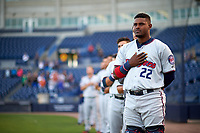 Fort Myers Miracle catcher Brian Navarreto (22) stands for the national anthem during a game against the Tampa Yankees on April 12, 2017 at George M. Steinbrenner Field in Tampa, Florida.  Tampa defeated Fort Myers 3-2.  (Mike Janes/Four Seam Images)