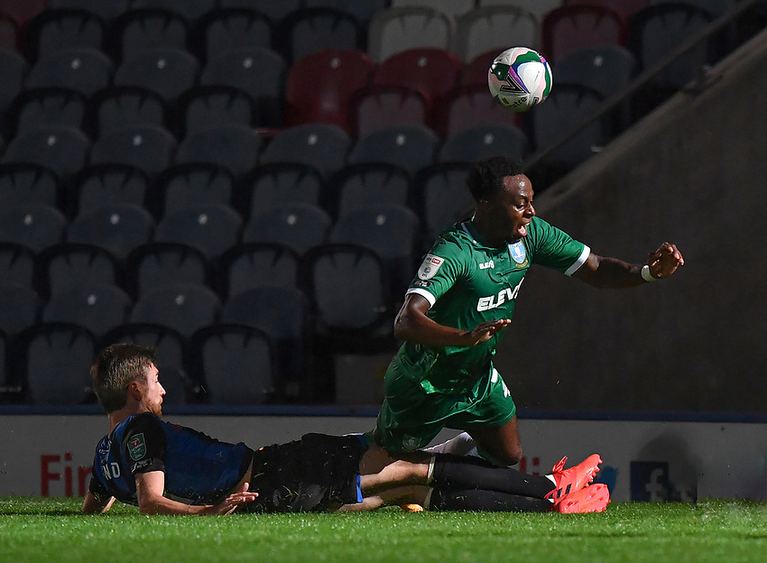 Sheffield Wednesday's Moses Odubajo is tackled by Rochdale's Matthew Lund<br /> <br /> Photographer Dave Howarth/CameraSport<br /> <br /> Carabao Cup Second Round Northern Section - Rochdale v Sheffield Wednesday - Tuesday 15th September 2020 - Spotland Stadium - Rochdale<br />  <br /> World Copyright © 2020 CameraSport. All rights reserved. 43 Linden Ave. Countesthorpe. Leicester. England. LE8 5PG - Tel: +44 (0) 116 277 4147 - admin@camerasport.com - www.camerasport.com