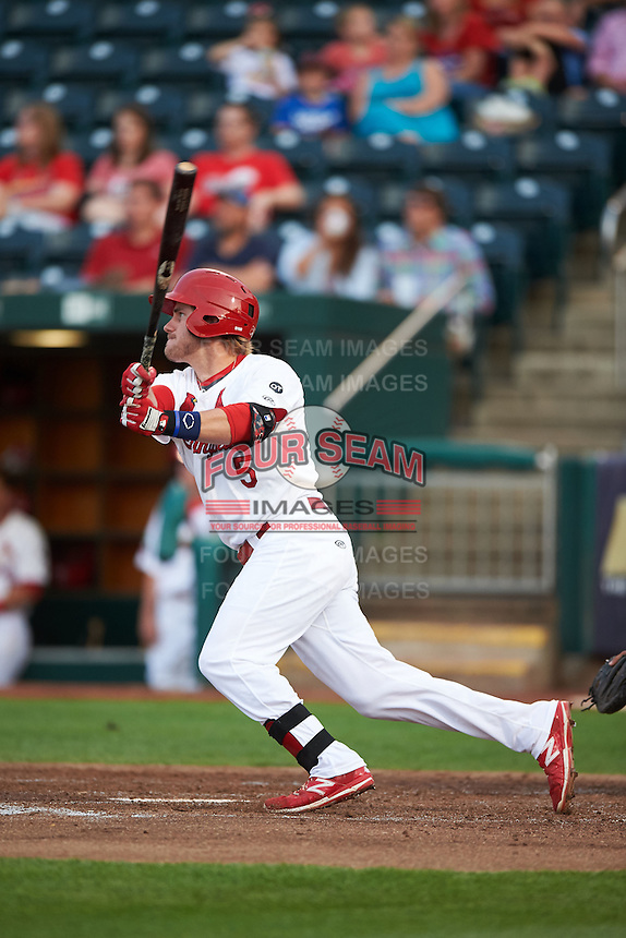 Springfield Cardinals third baseman Patrick Wisdom (5) at bat during a game against the Frisco RoughRiders  on June 3, 2015 at Hammons Field in Springfield, Missouri.  Springfield defeated Frisco 7-2.  (Mike Janes/Four Seam Images)