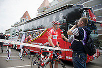 Lars Bak (DEN/Lotto-Belisol) interviewed before leaving for the start<br /> <br /> 2014 Tour de France<br /> stage 4: Le Touquet-Paris-Plage/Lille Métropole (163km)