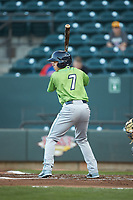 Jodd Carter (7) of the Lynchburg Hillcats at bat against the Winston-Salem Dash at BB&T Ballpark on May 1, 2018 in Winston-Salem, North Carolina. The Dash defeated the Hillcats 9-0. (Brian Westerholt/Four Seam Images)