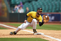 Missouri Tigers first baseman Brandt Belk (21) fields a throw during the game against the Oklahoma Sooners in game four of the 2020 Shriners Hospitals for Children College Classic at Minute Maid Park on February 29, 2020 in Houston, Texas. The Tigers defeated the Sooners 8-7. (Brian Westerholt/Four Seam Images)
