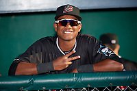 Batavia Muckdogs Brayan Hernandez (23) before a NY-Penn League game against the West Virginia Black Bears on June 25, 2019 at Dwyer Stadium in Batavia, New York.  Batavia defeated West Virginia 7-3.  (Mike Janes/Four Seam Images)