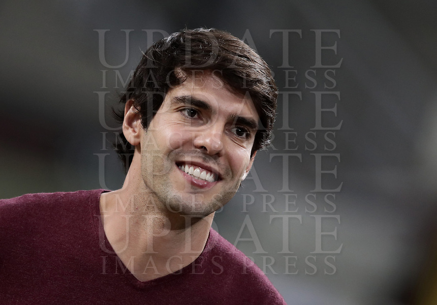 Calcio, Serie A: AC Milan - AS Roma, Milano stadio Giuseppe Meazza (San Siro) 31 agosto 2018.  <br /> Former AC Milan player Kaka prior to the start of the Italian Serie A football match between Milan and Roma at Giuseppe Meazza stadium, August 31, 2018. <br /> UPDATE IMAGES PRESS/Isabella Bonotto