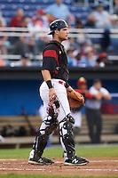 Batavia Muckdogs catcher Jarett Rindfleisch (44) during a game against the Staten Island Yankees on August 27, 2016 at Dwyer Stadium in Batavia, New York.  Staten Island defeated Batavia 13-10 in eleven innings. (Mike Janes/Four Seam Images)
