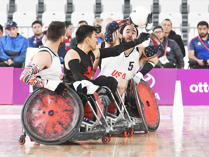 Travis Murao, Lima 2019 - Wheelchair Rugby // Rugby en fauteuil roulant.<br /> Canada takes on the USA in wheelchair rugby // Le Canada affronte les États-Unis au rugby en fauteuil roulant. 27/08/2019.
