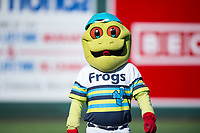 Everett AquaSox mascot Webbly between innings of a Northwest League game against the Tri-City Dust Devils at Everett Memorial Stadium on September 3, 2018 in Everett, Washington. The Everett AquaSox defeated the Tri-City Dust Devils by a score of 8-3. (Zachary Lucy/Four Seam Images)