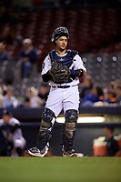 Connecticut Tigers catcher Gresuan Silverio (13) during a game against the Hudson Valley Renegades on August 20, 2018 at Dodd Stadium in Norwich, Connecticut.  Hudson Valley defeated Connecticut 3-1.  (Mike Janes/Four Seam Images)