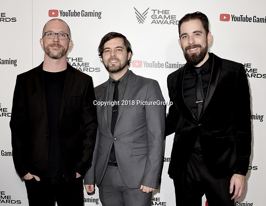 LOS ANGELES - DECEMBER 6: (L-R) Tam Armstrong, Chris Anderson and Danny Bulla attend the 2018 Game Awards at the Microsoft Theater on December 6, 2018 in Los Angeles, California. (Photo by Scott Kirkland/PictureGroup)
