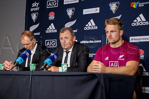 14th November 2020, Sydney, Australia;  John Plumtree, Ian Foster and Sam Cane at the post-match press conference after they were beaten by the Pumas. Tri Nations rugby union test match,  New Zealand All Blacks versus Argentina Pumas. Bankwest Stadium, Sydney, Australia.