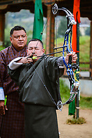 Archer at Changlimithang archery field, Thimpu, Bhutan. Archery is a national sport and tradition in Bhutan