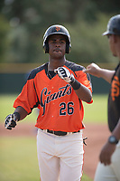 San Francisco Giants shortstop Manuel Geraldo (26) during an Instructional League game against the Kansas City Royals at the Giants Training Complex on October 17, 2017 in Scottsdale, Arizona. (Zachary Lucy/Four Seam Images)