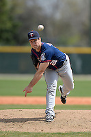 Minnesota Twins pitcher Matt Tomshaw (21) during a minor league spring training game against the Baltimore Orioles on March 20, 2014 at the Buck O'Neil Complex in Sarasota, Florida.  (Mike Janes/Four Seam Images)