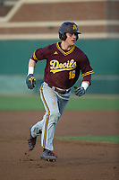 Andrew Shaps (16) of the Arizona State Sun Devils runs the bases during a game against the Southern California Trojans at Dedeaux Field on March 24, 2017 in Los Angeles, California. Southern California defeated Arizona State, 5-4. (Larry Goren/Four Seam Images)