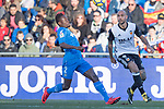 Dakonam Ortega Djene of Getafe CF in action against Simone Zaza of Valencia CF during the La Liga 2017-18 match between Getafe CF and Valencia CF at Coliseum Alfonso Perez on December 3 2017 in Getafe, Spain. Photo by Diego Gonzalez / Power Sport Images