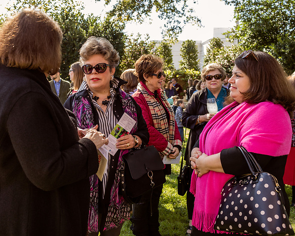 October 26, 2017. Raleigh, North Carolina.<br /> <br /> Nancy Andrews, center, is an executive mansion docent and attended the garden dedication. <br /> <br /> A new garden designed by Ben Skelton containing native Plants For Birds was dedicated at the North Carolina Executive Mansion.