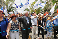 File Photo  - Parti Quebecois Leader Pierre-Karl Peladeau and other politicians attend the St-Jean Baptist (Quebec National Hollyday) parade, June 24, 2015.<br /> <br /> PHOTO : Pierre Roussel - Agence Quebec Presse