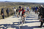 Greg Van Avermaet (BEL) BMC Racing Team climbs Sector 7 Monte Sante Maria of gravel during the 2015 Strade Bianche Eroica Pro cycle race 200km over the white gravel roads from San Gimignano to Siena, Tuscany, Italy. 7th March 2015<br /> Photo: Eoin Clarke/www.newsfile.ie