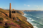 Great Britain, England, Cornwall, near St. Agnes: Ruin of Wheal Coates tin mine on the North Cornwall coast