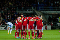 Wednesday 4th  December 2013 Pictured:  Wales Team Huddle <br /> Re: UEFA European Championship Wales v Cyprus at the Cardiff City Stadium, Cardiff, Wales, UK