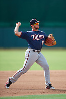 GCL Twins third baseman Charles Mack (9) throws to first base during the first game of a doubleheader against the GCL Orioles on August 1, 2018 at CenturyLink Sports Complex Fields in Fort Myers, Florida.  GCL Twins defeated GCL Orioles 7-6 in the completion of a suspended game originally started on July 31st, 2018.  (Mike Janes/Four Seam Images)