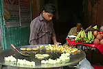 Food vendor in the Paharganj district of New Delhi, India.