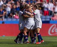 PARIS,  - JUNE 16: Julie Ertz #8 celebrates her goal with teammates Lindsey Horan #9 and Carli Lloyd #10 during a game between Chile and USWNT at Parc des Princes on June 16, 2019 in Paris, France.