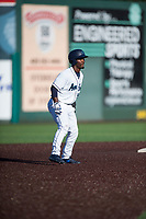 Everett AquaSox center fielder Josh Stowers (25) leads off second base during a Northwest League game against the Tri-City Dust Devils at Everett Memorial Stadium on September 3, 2018 in Everett, Washington. The Everett AquaSox defeated the Tri-City Dust Devils by a score of 8-3. (Zachary Lucy/Four Seam Images)
