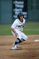 Austin Grebeck (3) of the Everett AquaSox leads off of second base during a game against the Boise Hawks at Everett Memorial Stadium on July 20, 2017 in Everett, Washington. Everett defeated Boise, 13-11. (Larry Goren/Four Seam Images)