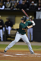 Siena Saints infielder Brian Fay (28) at bat during the opening game of the season against the UCF Knights on February 13, 2015 at Jay Bergman Field in Orlando, Florida.  UCF defeated Siena 4-1.  (Mike Janes/Four Seam Images)