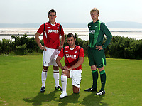 Pictured L-R: Marcos Painter, Matthew (Matty) Collins and unknown<br /> Re: Swansea City Football Club new kit presentation at Machybys Golf Club near Llanelli west Wales. Tuesday 23 June 2009<br /> Picture by D Legakis Photography / Athena Picture Agency, 24 Belgrave Court, Swansea, SA1 4PY, 07815441513