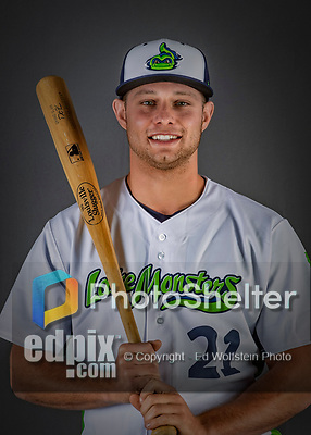 11 June 2019: Vermont Lake Monsters outfielder Nick Osborn poses for a portrait on Photo Day at Centennial Field in Burlington, Vermont. The Lake Monsters are the Single-A minor league affiliate of the Oakland Athletics and play a short season in the NY Penn League Stedler Division. Mandatory Credit: Ed Wolfstein Photo *** RAW (NEF) Image File Available ***