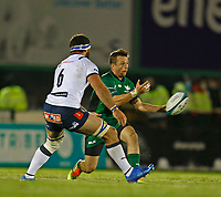 1st October 2021;  The Sportsground, Galway, Ireland; United Rugby Championships, Connacht versus Bulls; Jack Carty (Connacht) plays the ball away as Marcell Coetzee  (Bulls) closes in