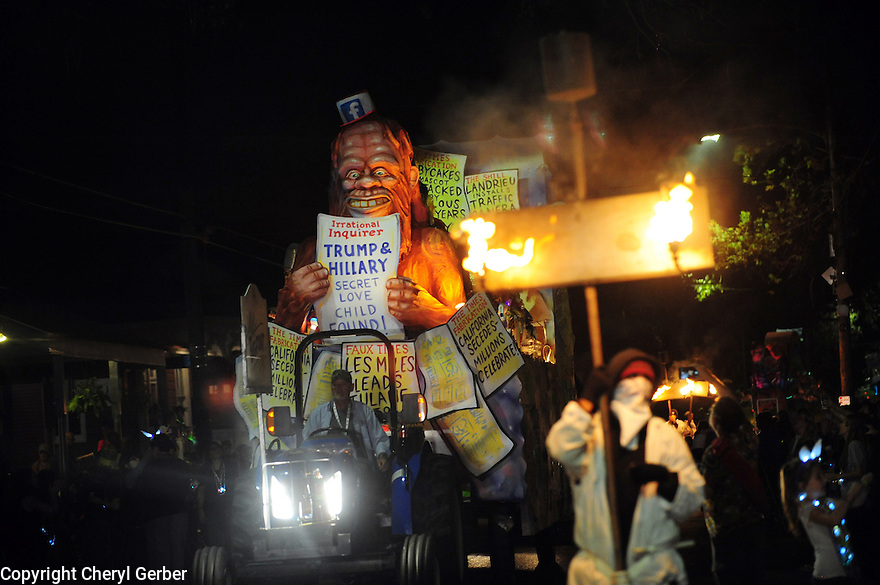 The Krewe D'Etat parade and its satirical float Bigfoot rolls in New Orleans on Friday, Feb. 24, 2017. (AFP/CHERYL GERBER)
